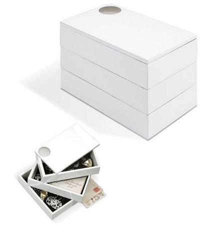 cutie de bijuterii de la Umbra, confectionata din lemn, alba