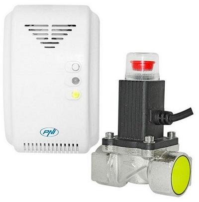 detector de gaz pni, alb, cu electrovalva