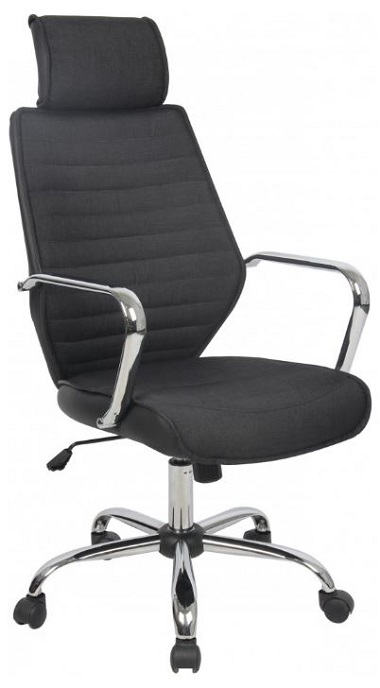 scaun de birou, textil, negru, cu tetiera