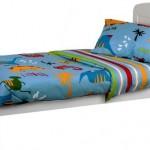set lenjerie de pat din 3 piese, cu dinozauri