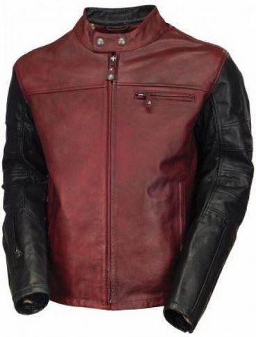 geaca de piele Roland Sands, rosu cu negru